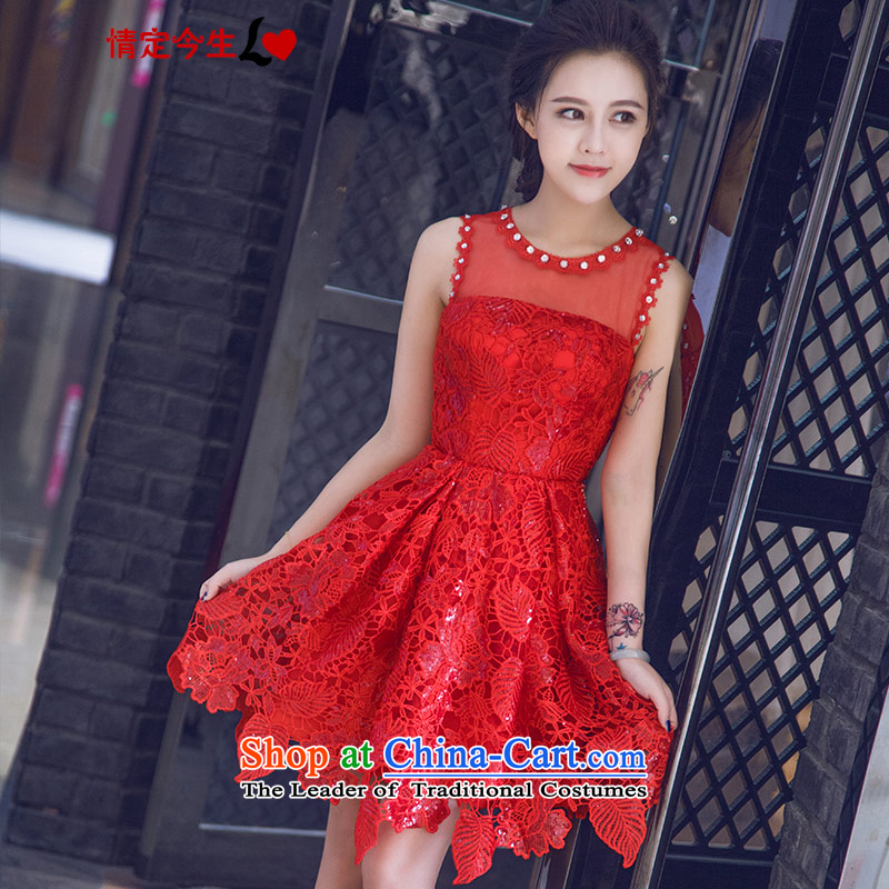 Love of the overcharged new stylish Sweet Word 2015 shoulder anointed chest Korean version of large red lace zipper, bridal dresses and skinny graphics dresses wedding dress a field shoulder?XS
