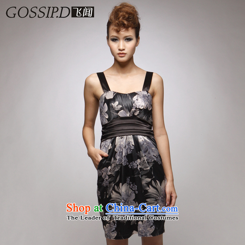 ??The new 2014 Special GOSSIP.D short skirts performances dresses, reception banquet Sau San retro apron skirt 1026 anthracite?M