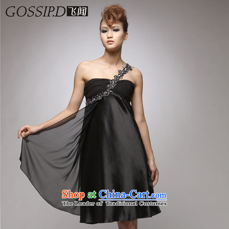 50% discount off the?new 2014 short of Princess banquet dresses western temperament dress Beveled Shoulder dress skirt 1028 Black?S