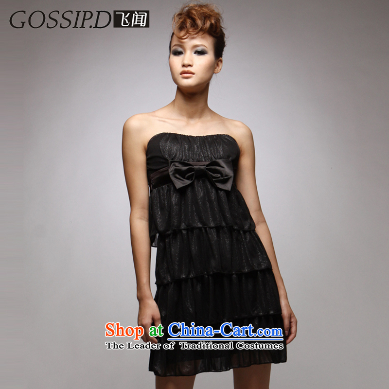 聽2014 European and American night offer GOSSIP.D shop sexy banquet anointed chest dress skirt black Sau San video thin dresses 1030 Black聽M