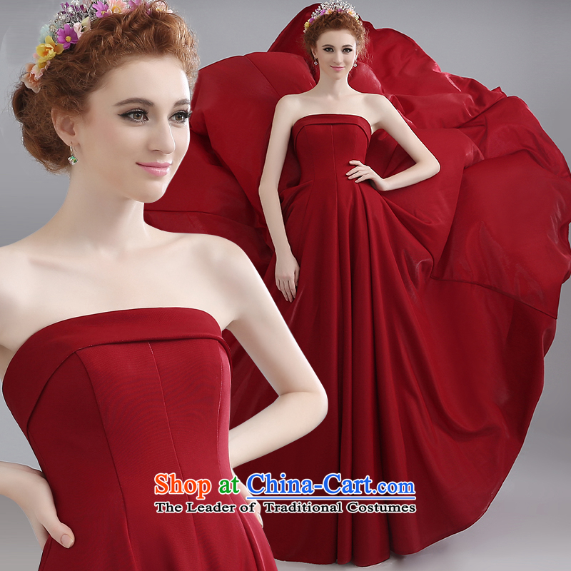 Toasting champagne bride services 2015 Marriage bows evening dresses long bridesmaid to erase to align the red chest bows dress summer female dark red can be made plus $30 Does Not Return