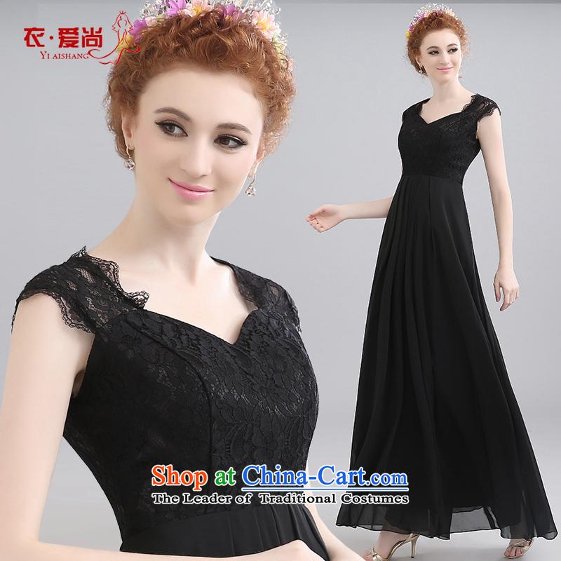 Wedding dress summer new short-sleeved to align the banquet dinner dress upscale shoulders to align the long gown black can be made plus $30 Does Not Return