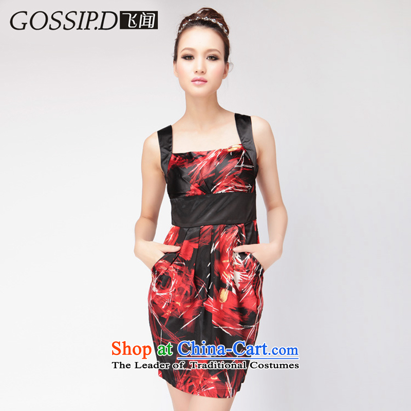 聽Flying about special offers jacquard yarn GOSSIP.D short skirt elegant banquet dresses, evening dresses evening dresses Sau San small party 1036 dark red_black聽S
