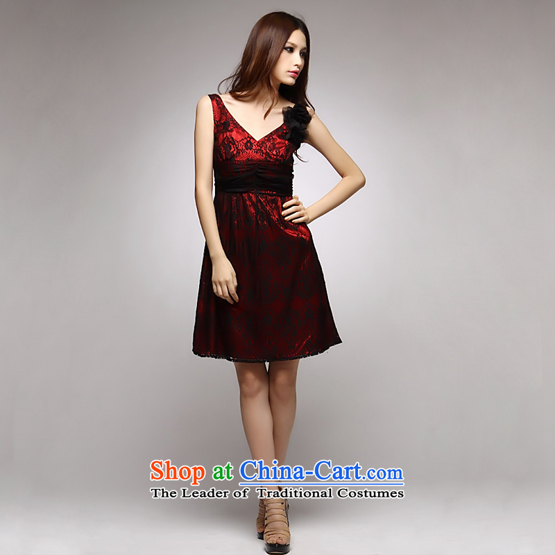 �Red bows to Princess GOSSIP.D lace small dress western shoulders deep V dress short skirts, Ladies dress 1052 RED�M