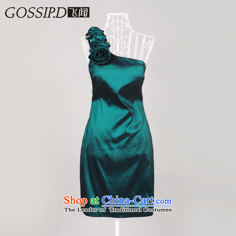 Gossip.d�bridesmaid dress bridal dresses bows elegant Beveled Shoulder annual service small Dress Short of Sau San evening dresses 1056 Lake green�L