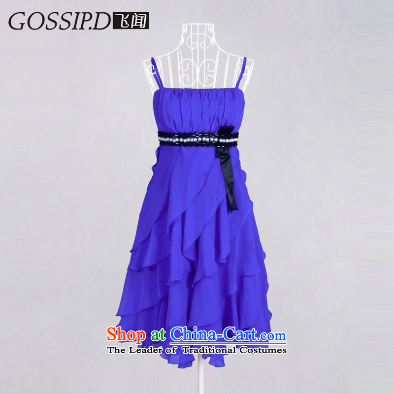�Annual meetings of the European and American evening GOSSIP.D banquet dress skirts and chest evening dress short of Princess small dress bridesmaid dress 1087 Royal Blue�M