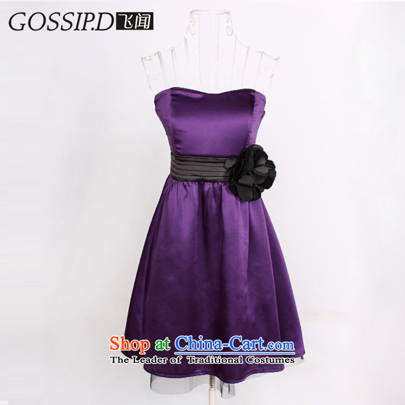 �Special GOSSIP.D bridesmaid dress small dress Korean dress skirt Evening Dress Short, sweet dress wiping the chest 1089 purple�M