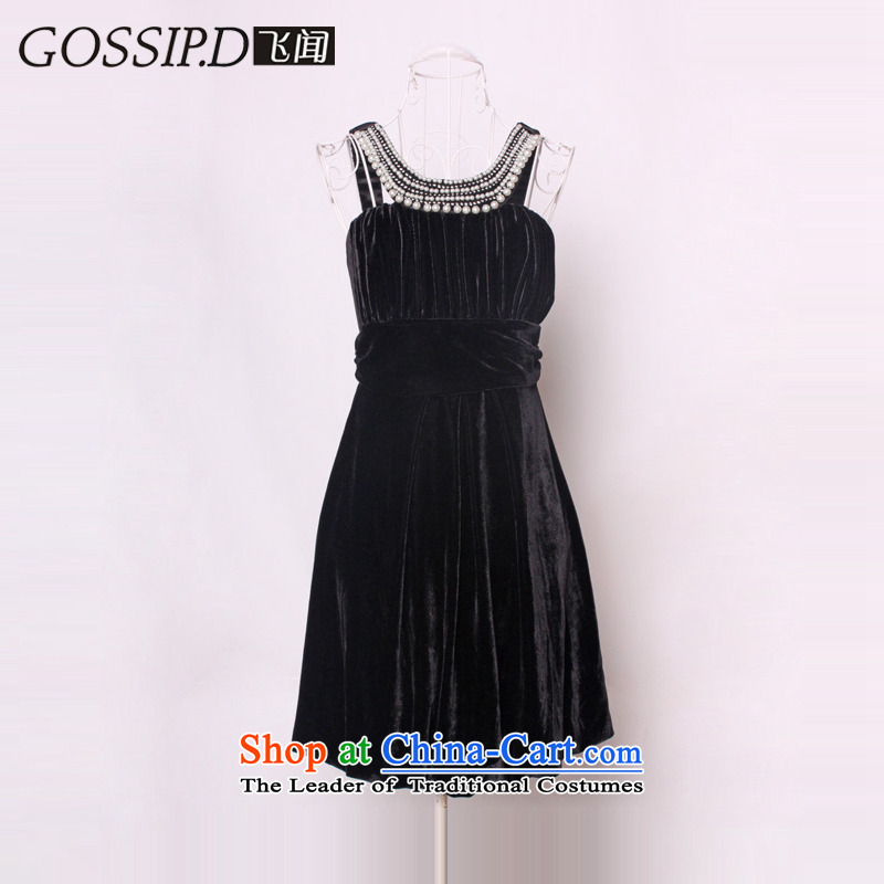 聽Flying about Europe GOSSIP.D Fall/Winter Collections temperament video thin small dress skirt banquet velvet Princess Evening Dress Short) 1149 Black聽L,GOSSIP.D,,, shopping on the Internet