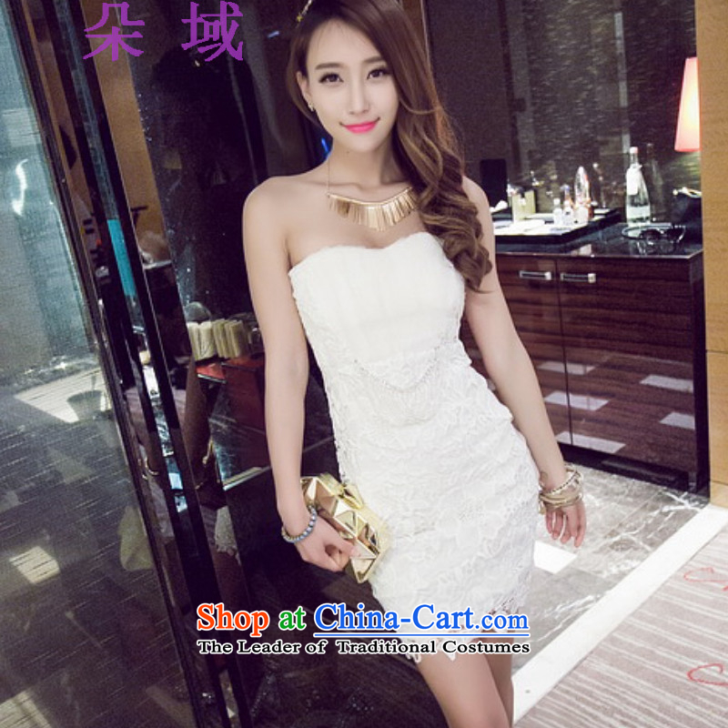 Flower domain a new summer 2015 for women nightclubs and sexy wind wiping the Chest Sau San video thin dress skirt dresses 8945 White�L