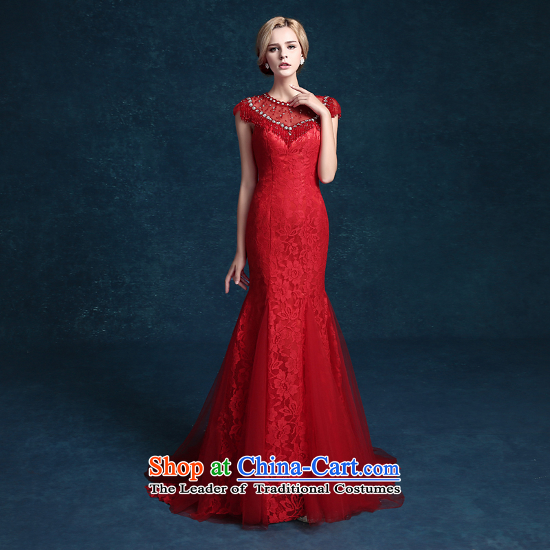High-end marriage every Connie wedding dresses banquet evening dresses spring and summer wedding dresses moderator girl brides toasting champagne package shoulder crowsfoot services marriage long Sau San Red�XL