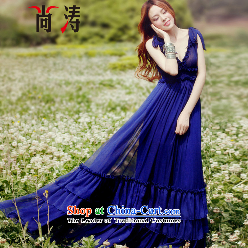 2015 Autumn is women's clothes new chiffon gliding large low his chest resort long skirt dresses dress long skirt D0601 BLUE�S