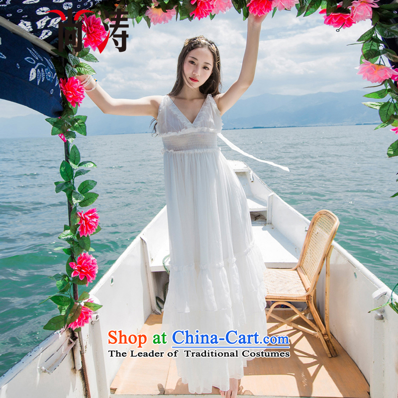 2015 Autumn is women's clothes new chiffon gliding large low his chest resort long skirt dresses dress long skirt D0601 blue , yet Tao (SHANGTAO) , , , shopping on the Internet