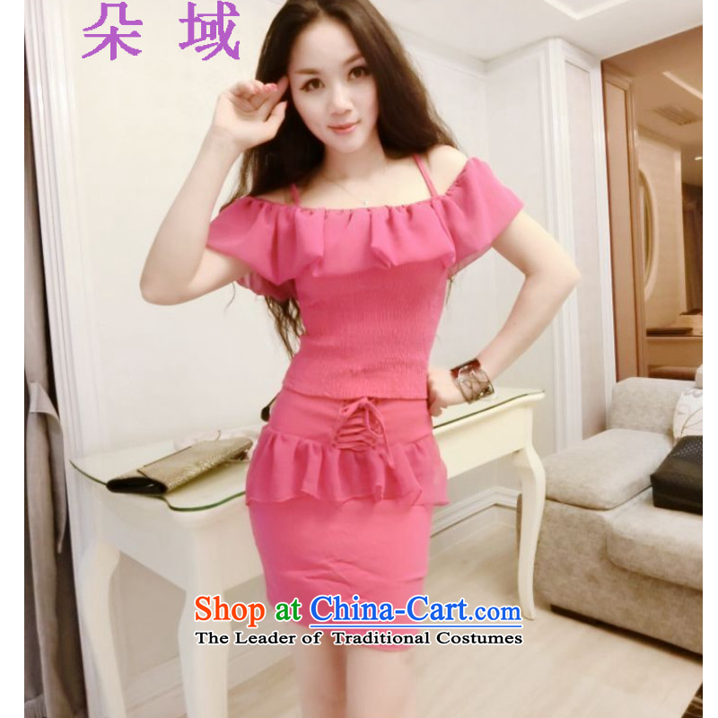 Flower domain a new summer 2015 for women of the word  shoulder billowy flounces short strap package combines the body and skirt Kit 8990 red are code