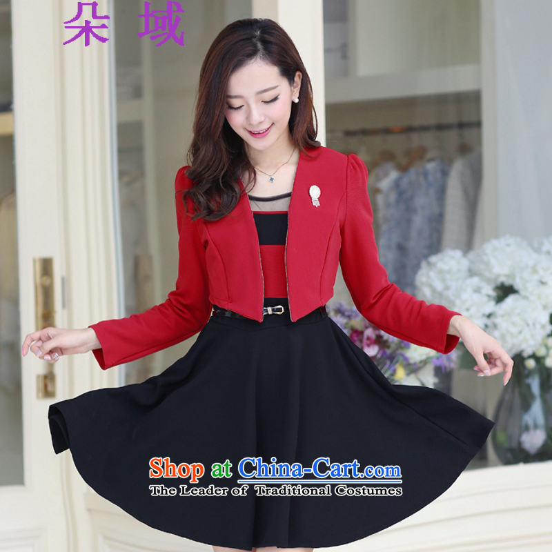 Load the autumn 2015 domain and the new two-piece dresses sweet long-sleeved gown shawl kit small addition Chest Flower Belt 9036 red T-shirt black frocksXXL