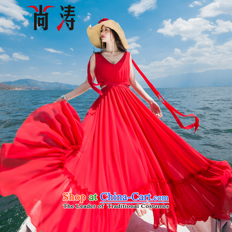 2015 Autumn is women's clothes new large TERRACE V-Neck waist large resort long skirt the mandatory fairies skirt dress long skirt D0602 RED?L
