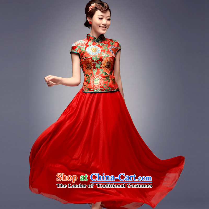 Eason Chan point new summer 2015 bride retro red wedding dress marriage long bows services red red bride qipao聽XXL payment for about a week shipment