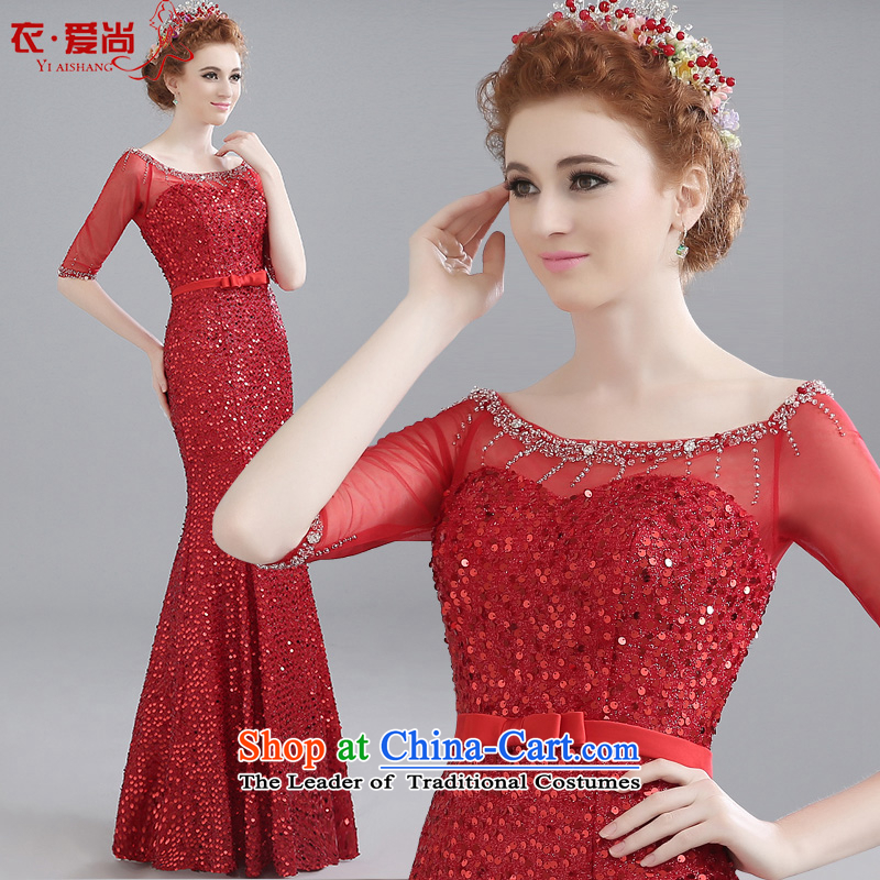 The bride is based dress bows long summer 2015 new evening banquet moderator crowsfoot dress female summer RED?M