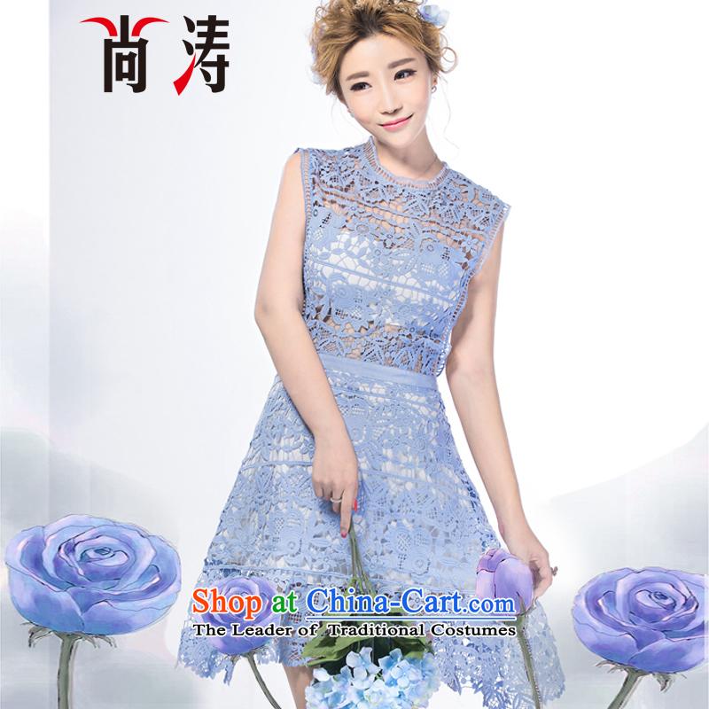 2015 Autumn is women's clothes new aristocratic van engraving lace dresses dress dresses D0603 SKYBLUE?L