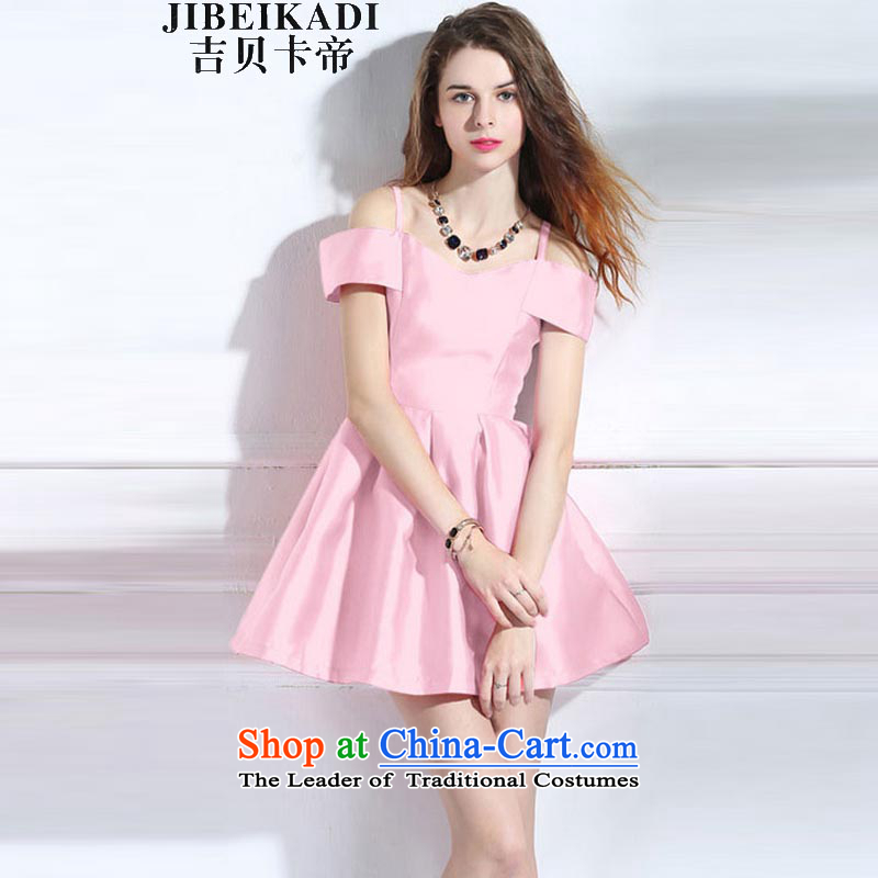 Gibez card in Dili 980# retro look sexy beauty of pure colors for the word dress Foutune of video thin large dresses summer short skirt pink?S