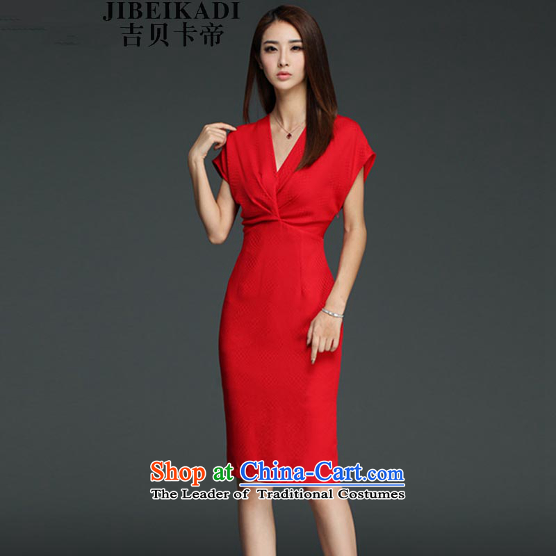 Gibez 982#2015 Dili summer card sexy new V-Neck creases red dress graphics package and in cultivating the thin red dress?XXL