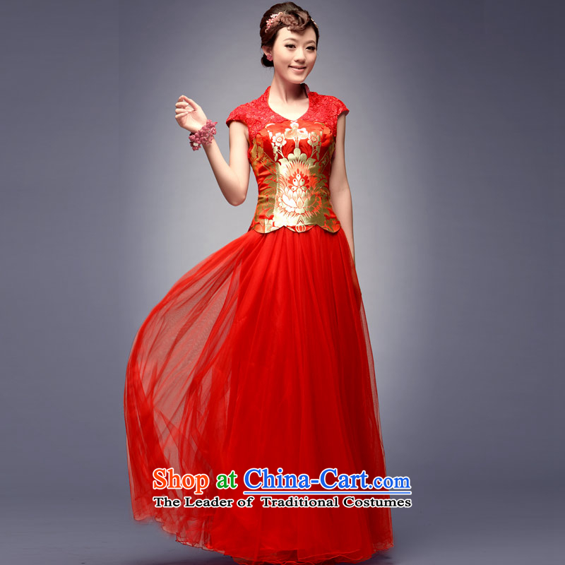 Eason Chan point 2015 New Stylish retro Chinese wedding in summer and autumn replace bows services red Chinese long married women dress skirt red S after payment of approximately 1 week shipment