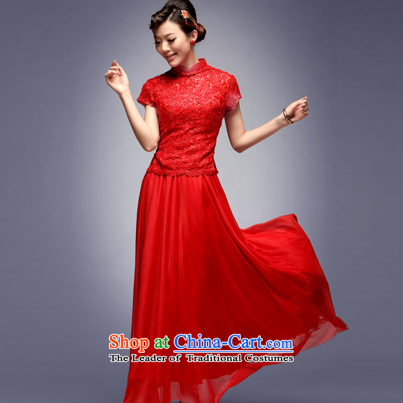 Eason Chan point in summer and autumn of 2015 the new bride cheongsam dress with long Sau San retro wedding dresses red bows services red XL
