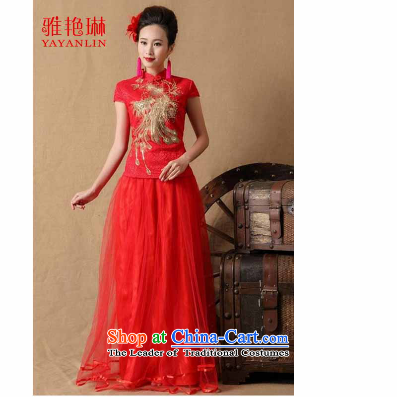 Ya Yun Lin 2015 marriages gift cheongsam dress red long bows evening dresses W2F C2090-6648 RED�L