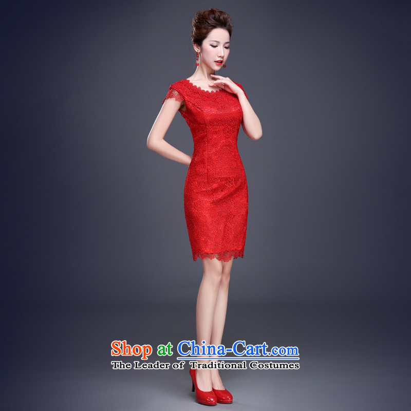 Jie mija bows services for summer 2015 New Qipao) red marriages of small wedding dresses short Chinese Dress Female Red?M
