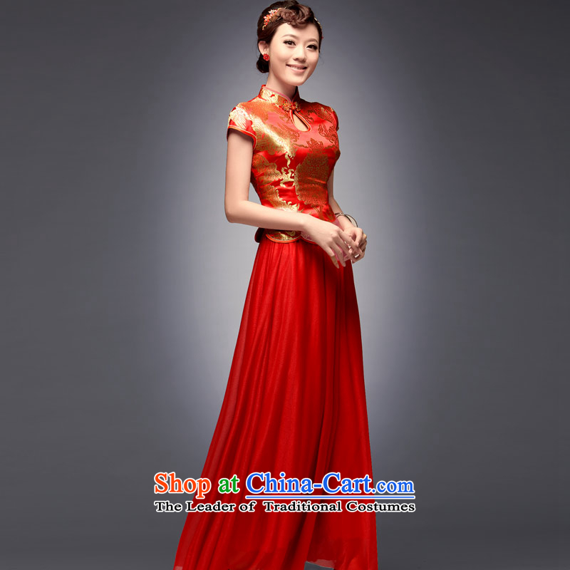 Eason Chan point new tray snap 2015 embroidery retro dress long red modern Chinese cheongsam dress improved marriage red聽after payment of the XL for about a week shipment