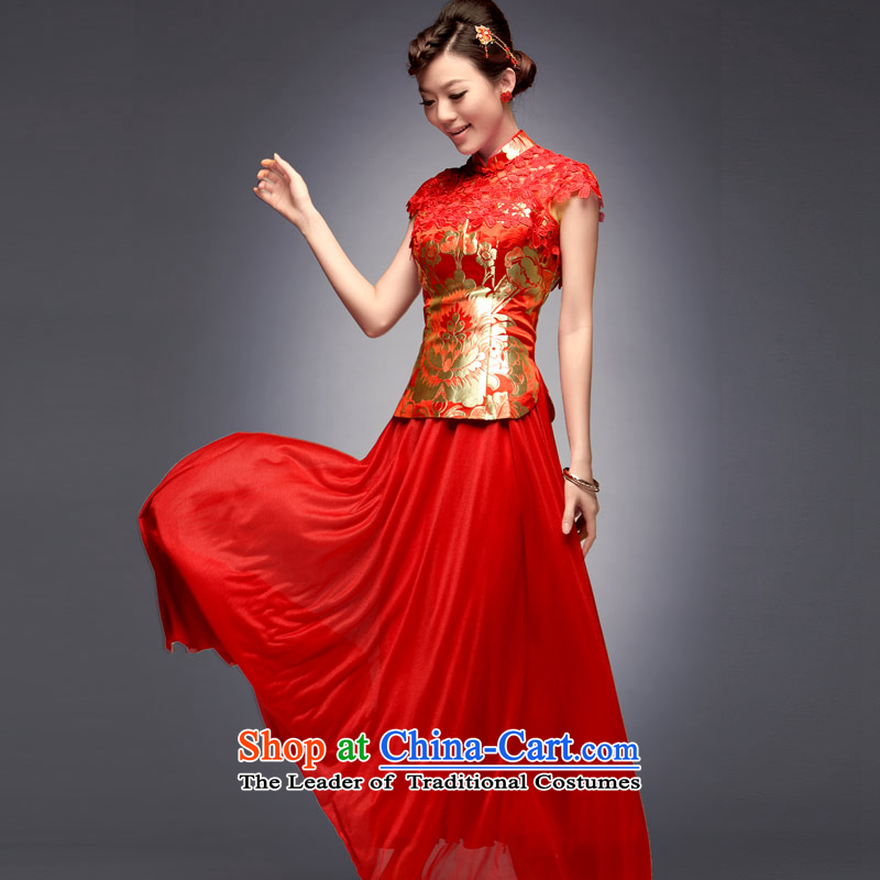 Eason Chan point new summer and fall of 2015, the long-serving small groups of Fengxian long red Chinese Antique wedding dress skirt bows to red?after payment of the XL for about a week shipment