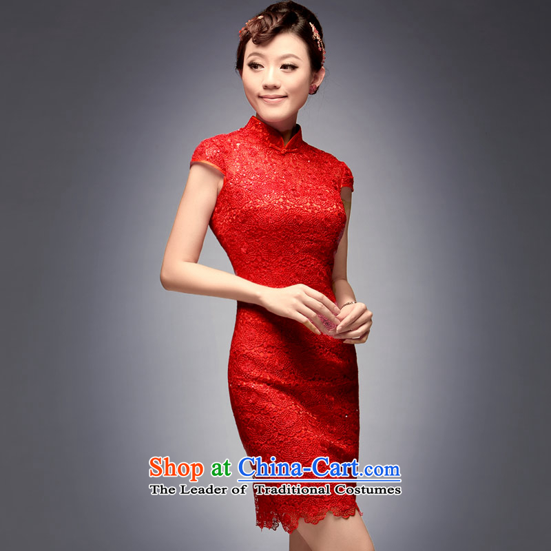 Eason Chan point cheongsam wedding dress 2015 New Chinese Disc detained minimalist short, wedding receptions and noble bows services red Chinese back to the door?after payment of the Red L for about a week shipment