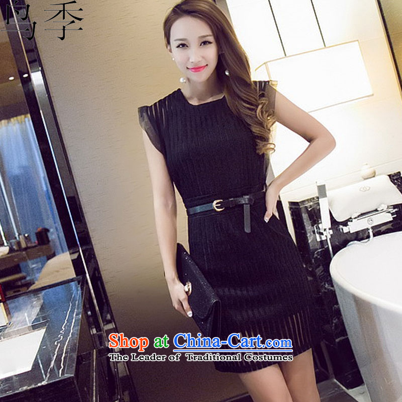 ?2015 summer season bird new stylish gauze Foutune of Sau San video thin package and dresses?L1046 female?black?S