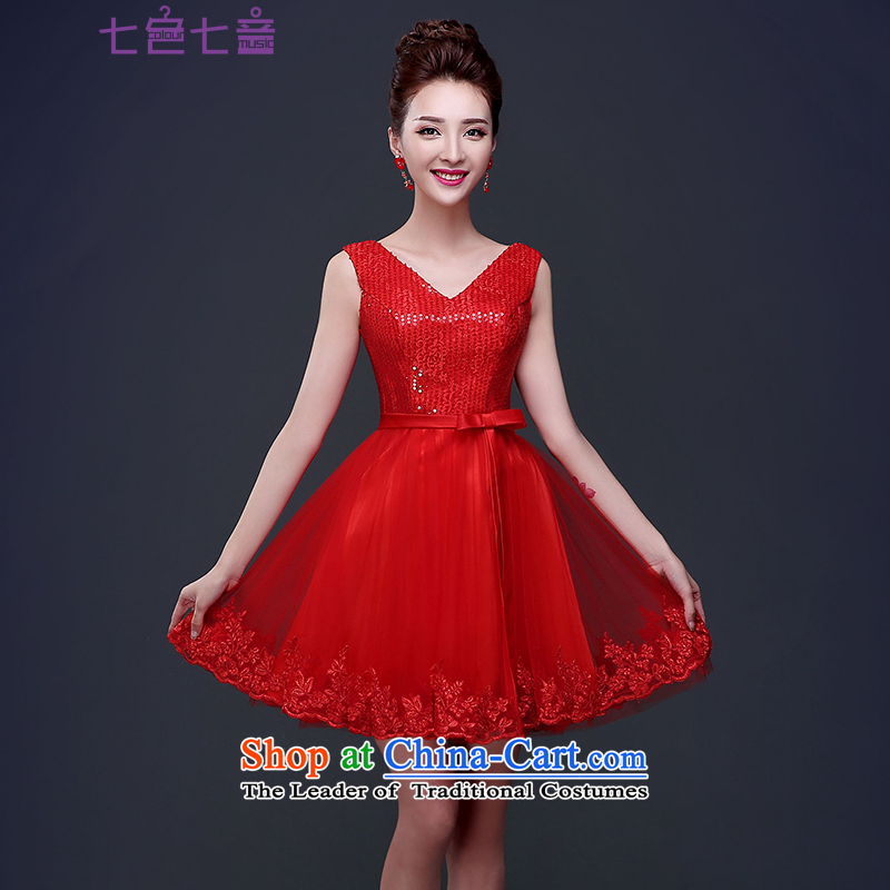 7 Color 7 tone Korean dress the new bride spring and summer 2015 bows service wedding dress red double-shoulder length of service?L044 BRIDESMAID?RED?M
