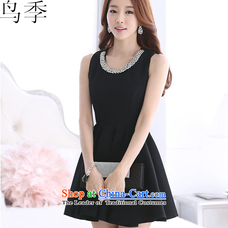 �2015 summer season bird new Korean Ladies of Sau San video thin sleeveless jacket large bon bon dress dresses L1015 female Black�XL