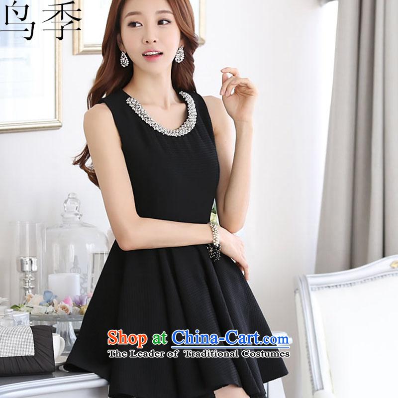 2015 summer season bird new Korean Ladies of Sau San video thin sleeveless jacket large bon bon dress dresses female blackXL, bird quarter L1015 shopping on the Internet has been pressed.