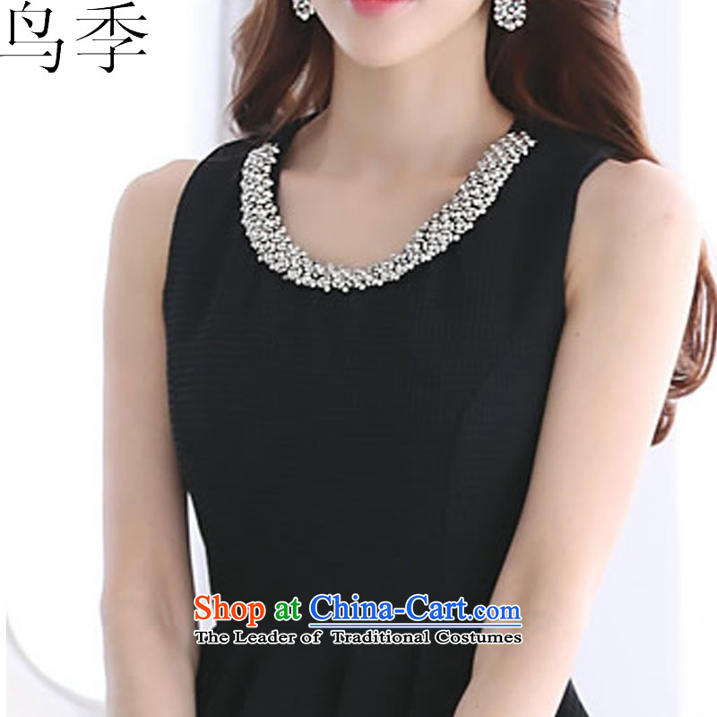 聽2015 summer season bird new Korean Ladies of Sau San video thin sleeveless jacket large bon bon dress dresses female black聽XL, bird quarter L1015 shopping on the Internet has been pressed.