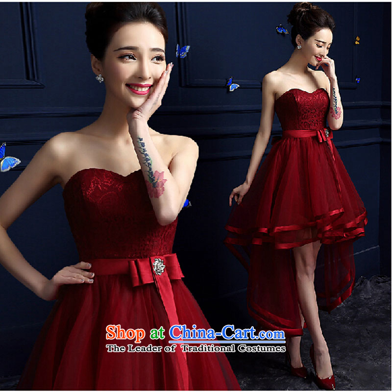 However Service Bridal Fashion spring length of 2015, Wedding Dress evening dresses and chest after long female summer short dark red?L