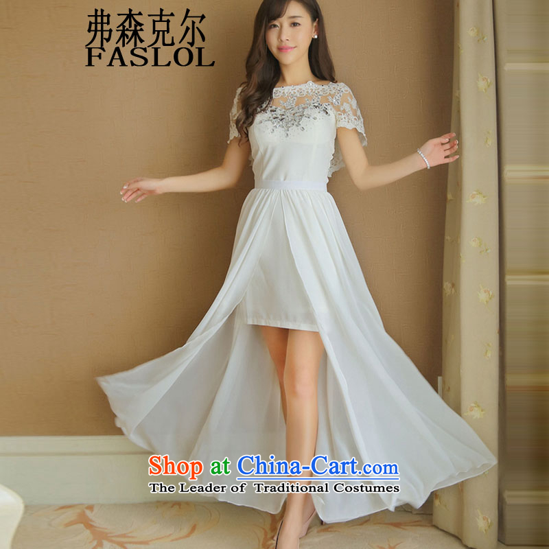 Drill nail pearl diamond dresses Korean short of aristocratic dress skirt long skirt 3226 White?S