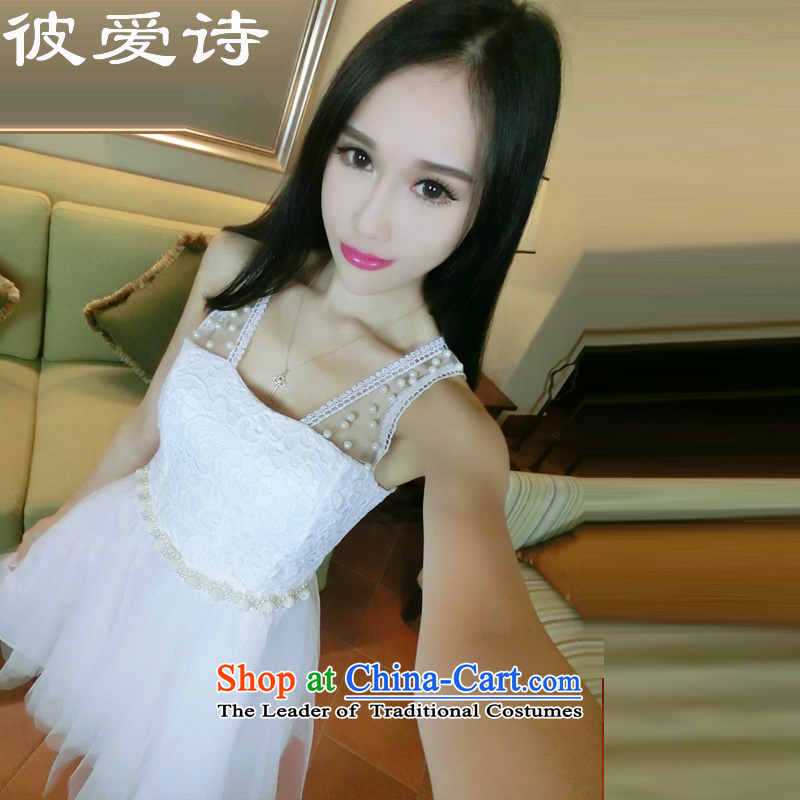 He Elsie Summer 2015 new sweet Princess Pearl set lace fan gauze stitching sexy nightclubs dresses dress code are white