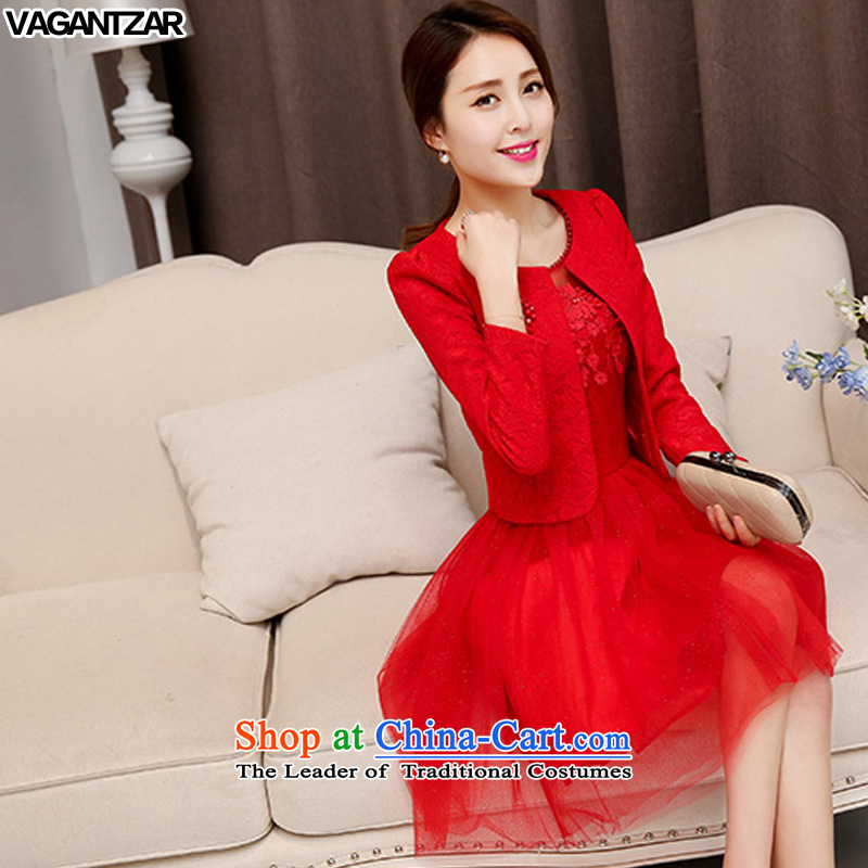 ?New Spring and Autumn VAGANTZAR large red bride replacing dresses marriage the lift mast bows dress lace red dress two kits?15.51?RED?M