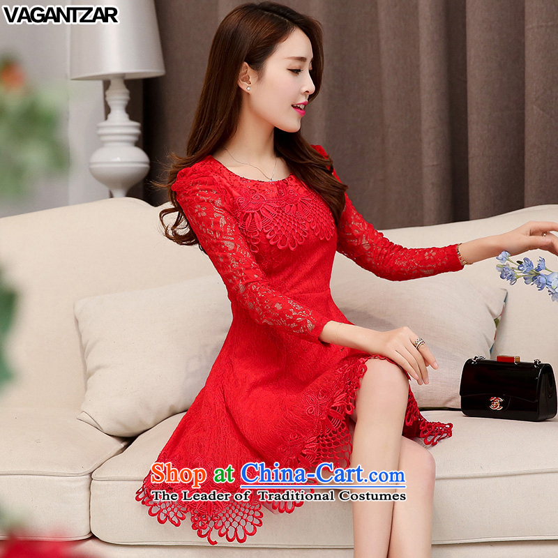 Replace the spring and autumn long-sleeved women VAGANTZAR2015-lace dresses toasters evening dresses large red bride back to door onto bows services 1525 RED?M