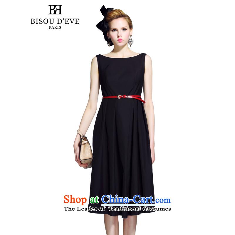 Mrs Diana be 2015 Pik autumn new round-neck collar sleeveless long antique dresses A skirt large skirt dress BH02134179 black?S