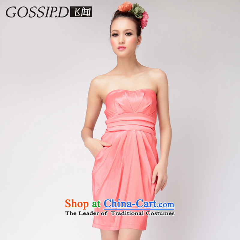 Europe and the anointed evening GOSSIP.D chest evening dress short of Sau San moderator small dress for larger video thin banquet dress 1021 Peach聽XL