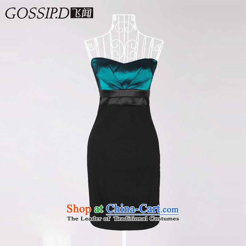 聽Europe and the anointed chest GOSSIP.D evening dress short of Princess banquet moderator decorated in annual meetings of the Night Gown small dark blue dress 1022聽L
