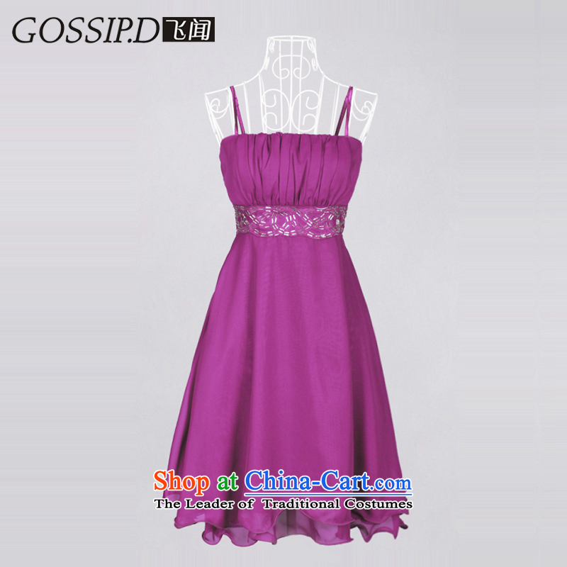 ?Special GOSSIP.D bridesmaid dress uniform dress bows Short, sweet little princess Evening Dress Suit 1037 aubergine not engraving?M