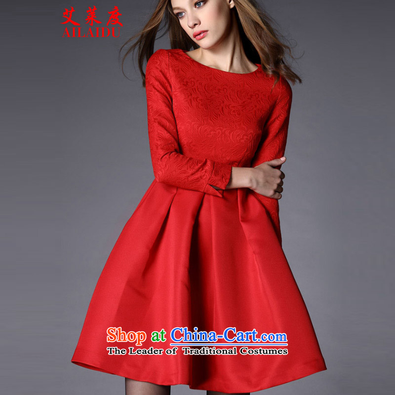The Aileu degrees 2015 large red dress married women serving drink autumn and winter jackets JMB090-B_6916 annual banquet red?L