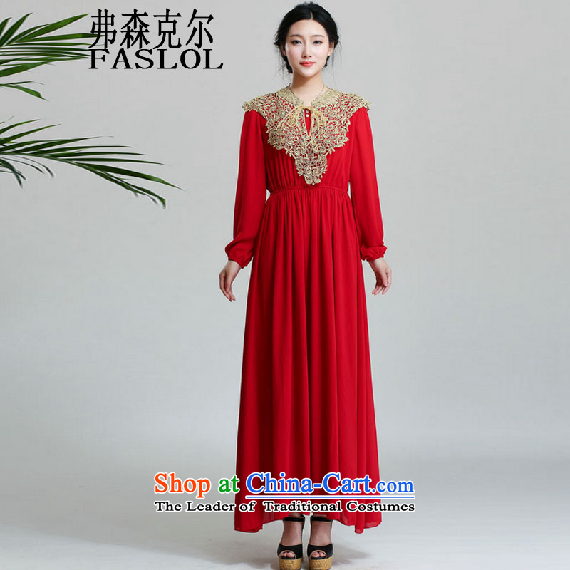 The Infusion Michael C.o.d. dress skirt Islamic long-sleeved golden silky shawl long long-sleeved dresses 9505 Red�S