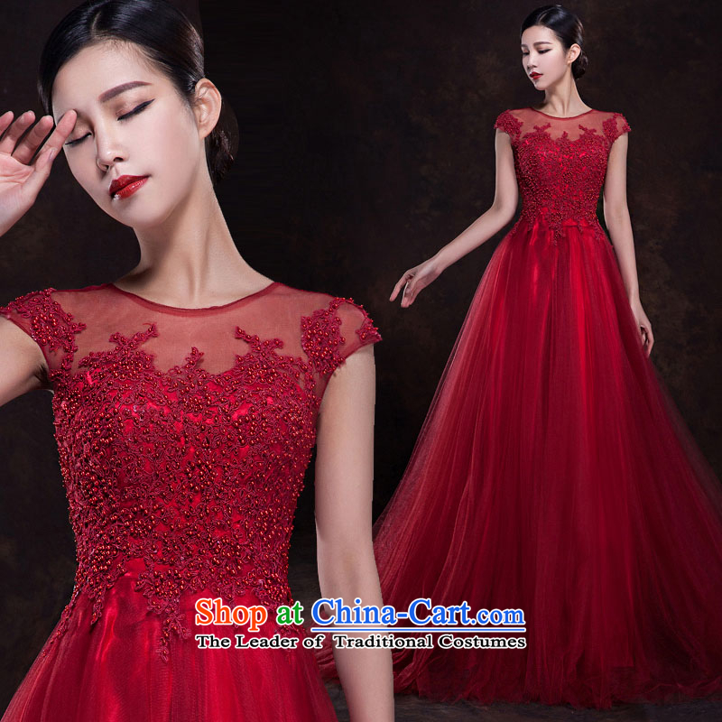 Pure Love bamboo yarn 2015 new red bride wedding dress long evening dresses evening drink service red shoulders dark red dress Sau San tailored please contact Customer Service