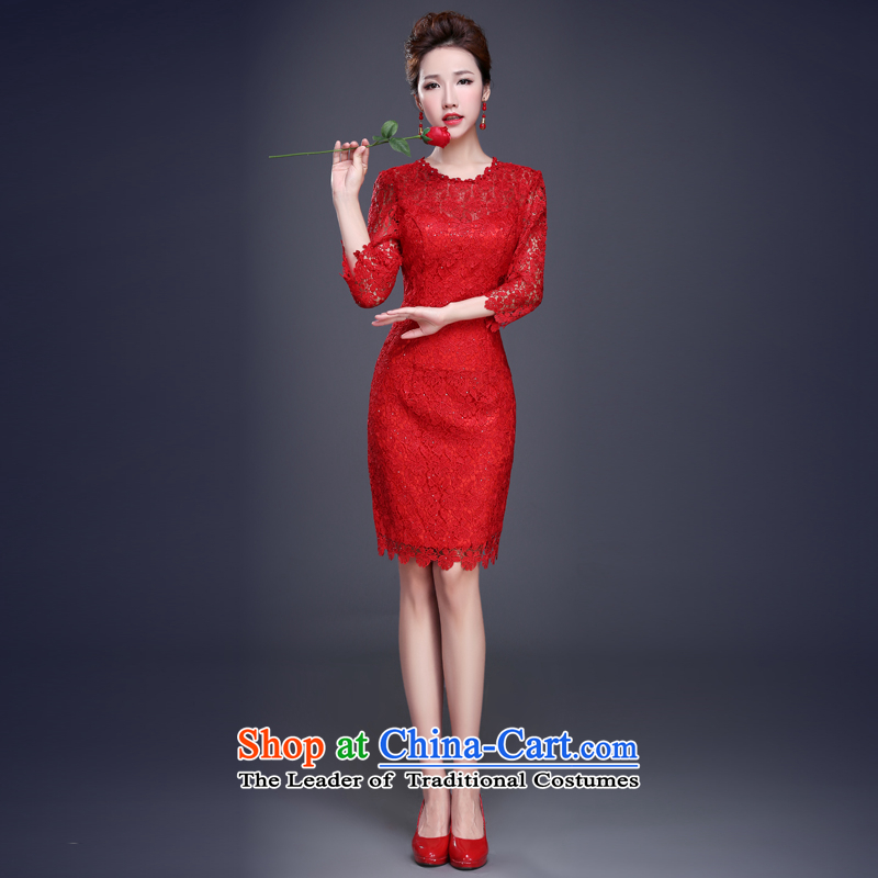 Jie mija bows qipao 2015 new services for summer red marriages evening dress short of small banquet evening dress female red聽S