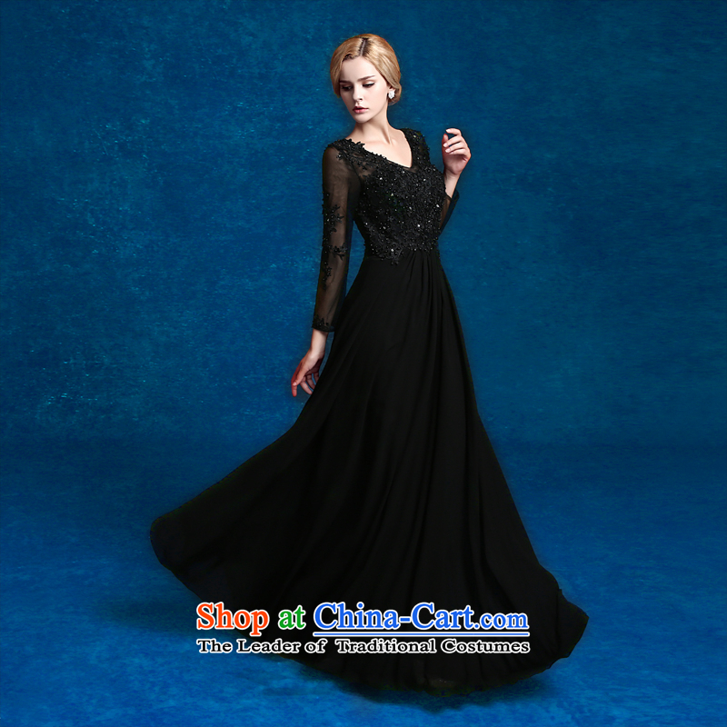 2015 new wedding dresses long long-sleeved Sau San evening dresses moderator dress annual graduation banquet evening dresses black tailored does not allow